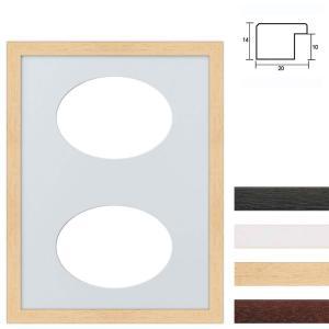 Cornice multipla in legno 30x40 cm per 2 foto ritaglio ovale