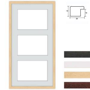 Cornice multipla in legno 40x80 per 3 foto per DIN A4