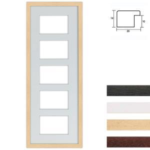 Cornice multipla in legno 25x70 cm per 5 foto