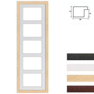 Cornice multipla in legno 25x80 cm per 5 foto