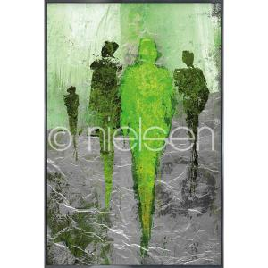 "Immagine incorniciata ""Abstract Figures Green"" con cornice in alluminio Alpha"