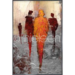 "Immagine incorniciata ""Abstract Figures Red"" con cornice in alluminio Alpha"
