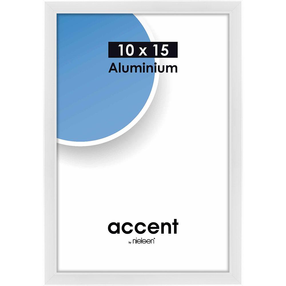Cornice in alluminio Accent 10x15 cm | bianco brillante | vetro standarde