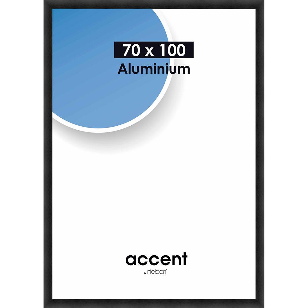 Cornice in alluminio Largo 70x100 cm | nero struttura opaco | vetro standarde