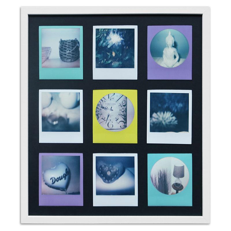 Cornice per 9 immagini istantanee- Typ Polaroid 600 35,4x41,1 cm | bianco, venato | vetro standarde