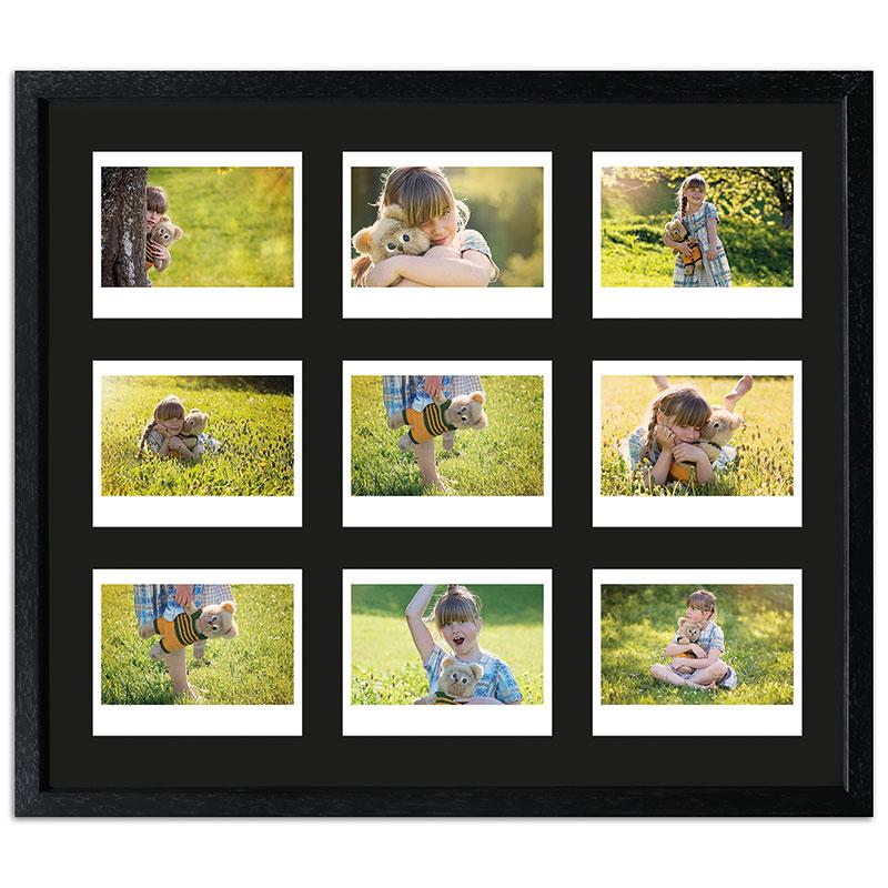 Cornice per 9 immagini istantanee- Typ Instax Wide 35,4x41,1 cm | nero, venato | vetro standarde