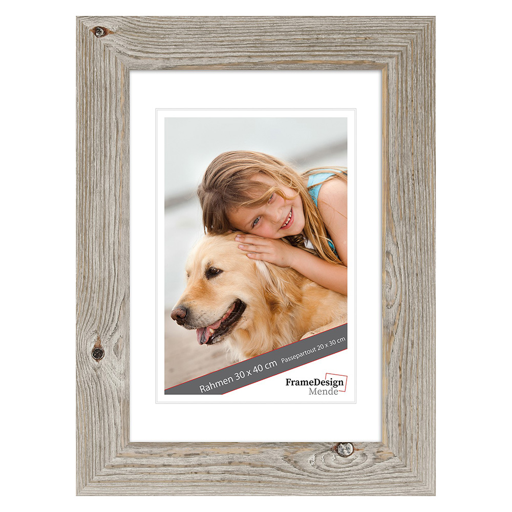 Cornice in legno Masoule 25x38 cm | rovere bianco | vetro standarde
