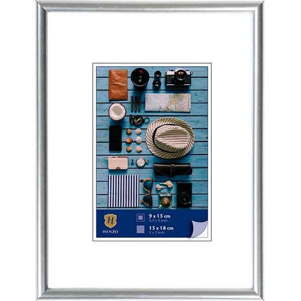 Cornice di plastica Napoli Metal 10x15 cm (7x10 cm) | argento | vetro standarde