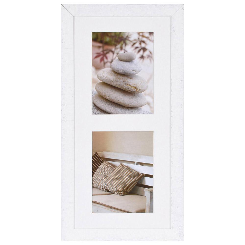 Cornice galleria Driftwood per 2 immagini 15x20 cm | bianco | Vetro standard