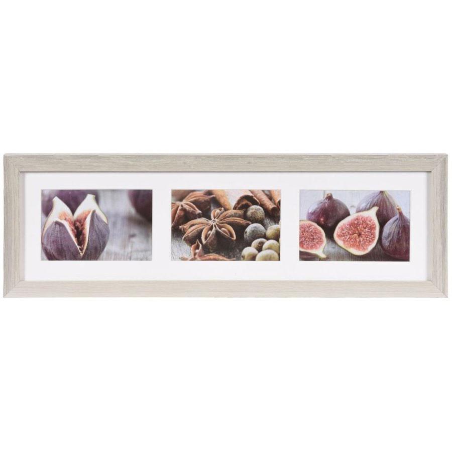 Cornice galleria Deco per 3 immagini 10x15 cm | bianco | Vetro standard