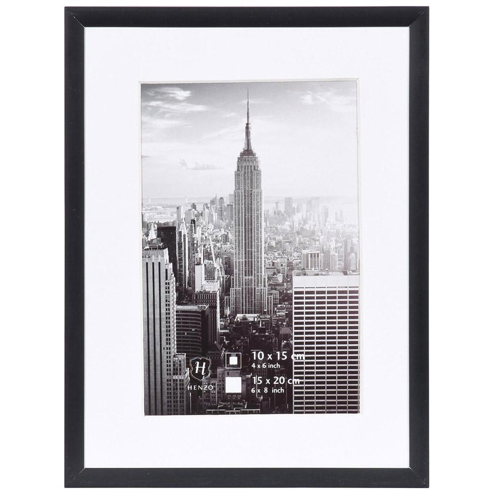 Cornice in alluminio Manhattan con passe-partout 10x15 cm (7x10 cm) | nero | vetro standarde