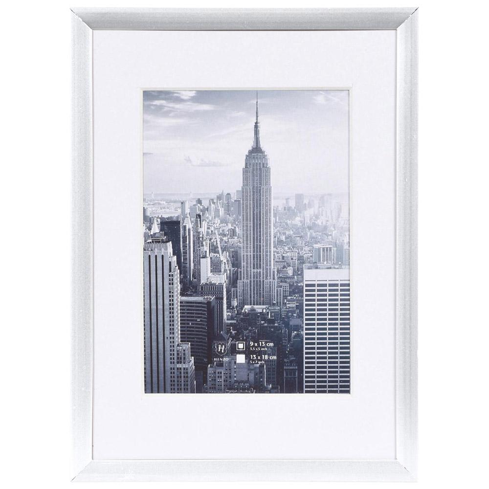 Cornice in alluminio Manhattan con passe-partout 20x30 cm (13x18 cm) | argento | vetro standarde