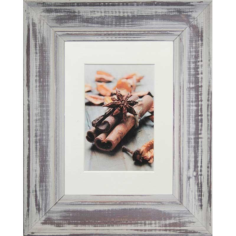 Cornice in legno Anais con passe-partout 13x18 cm (10x15 cm) | grigio | vetro standarde