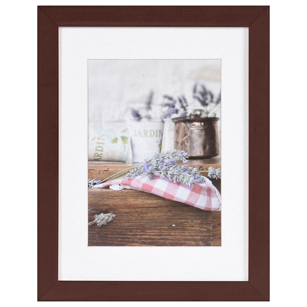 Cornice in legno Jardin con passe-partout 10x15 cm (7x10 cm) | Marrone | Vetro standard