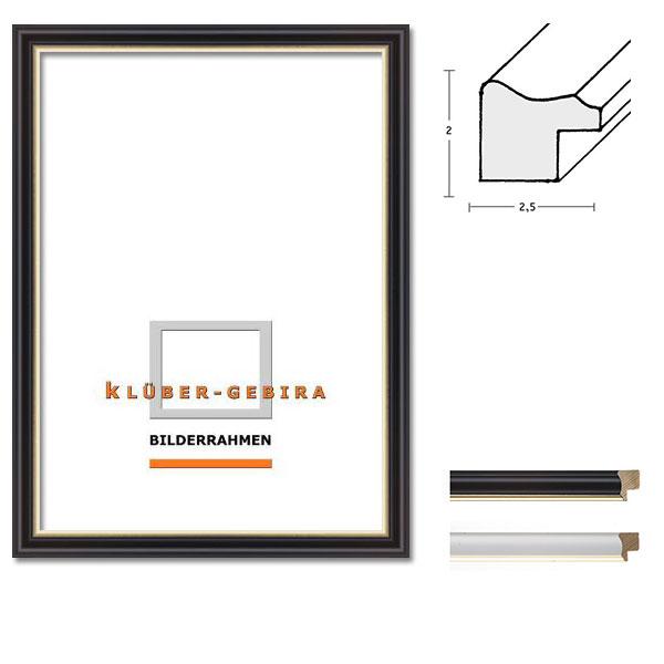 Cornice in legno Bescano 20x30 cm | nero, bordo oro | vetro normale