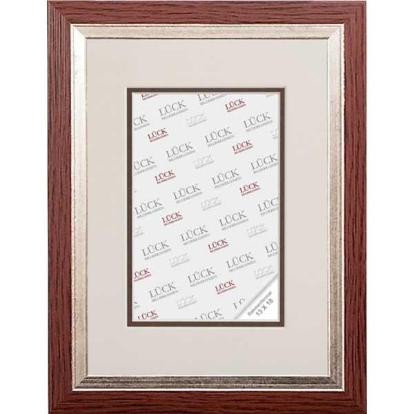 Cornice barocca Eppingen con passe-partout 13x18 cm (9x13 cm) | Nuss mit Silberkante | vetro standarde