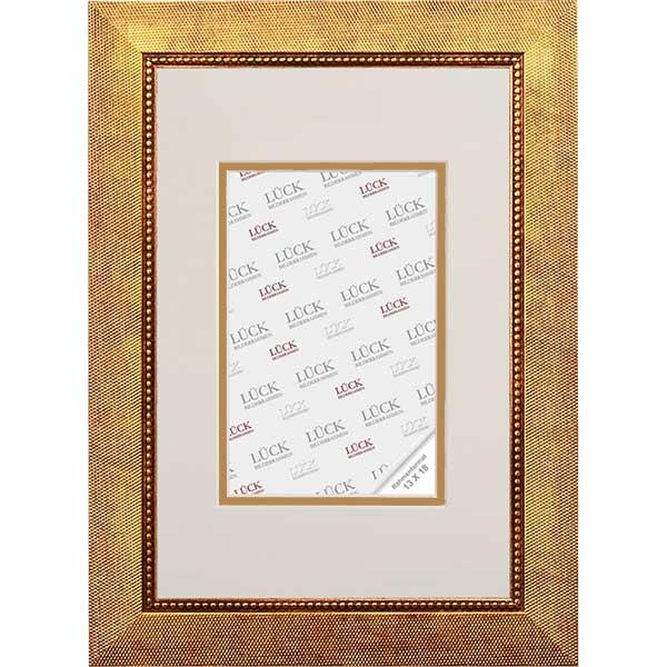 Cornice di plastica Wangen con passe-partout 13x18 cm (9x13 cm) | oro | vetro normale