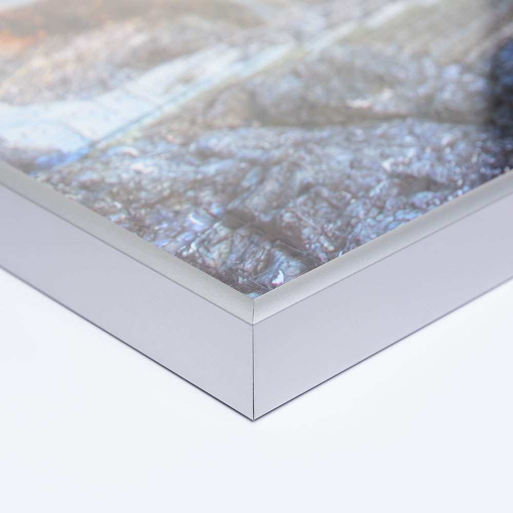 Cornice in alluminio per puzzle per 2000 pezzi 67,2x90,2 cm (Jumbo) | argento opaco | vetro artificiale antiriflesso