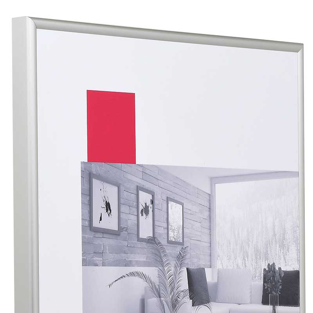 Cornice in alluminio Econ rotondo 60x70 cm | argento opaco | vetro artificiale antiriflesso
