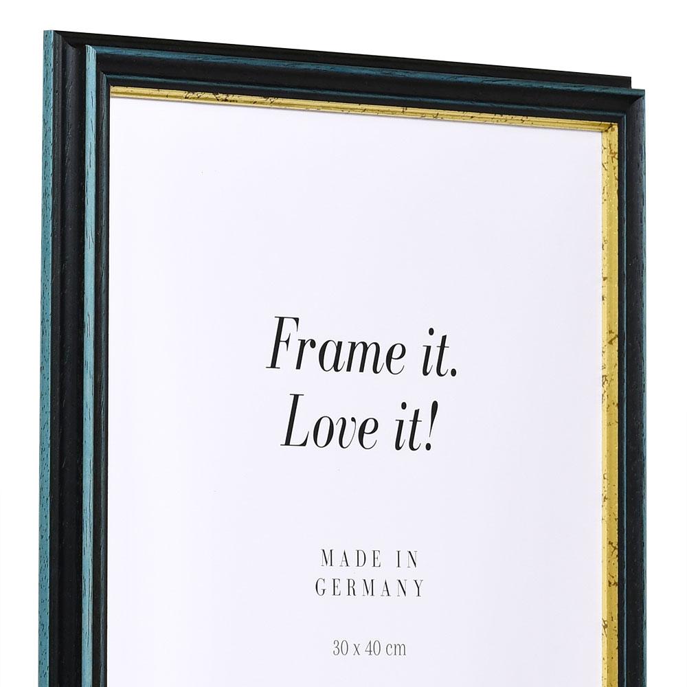 Cornice in legno Toulouse 18x32 cm | blu-oro | vetro standarde