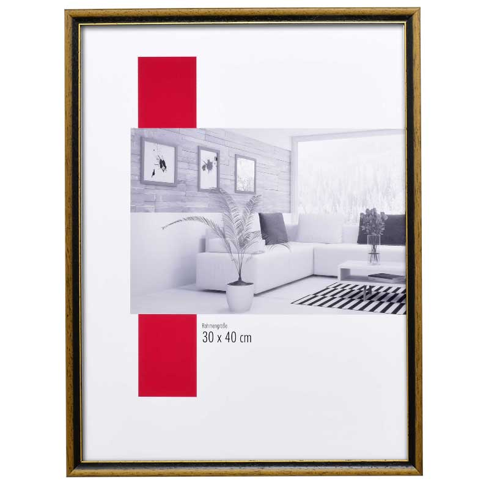 Cornice in legno Lyon 25x70 cm | marrone noce-oro | vetro standarde