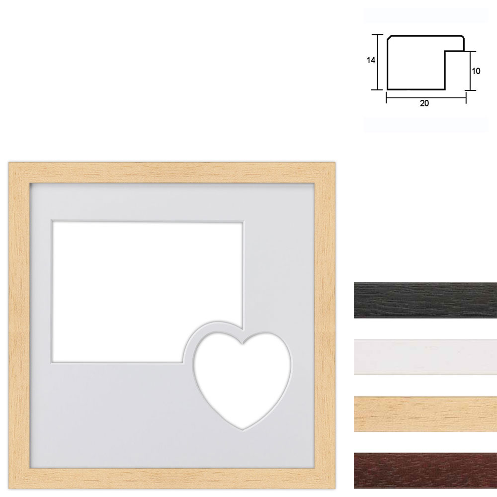 Cornice multipla in legno 30x30 cm per 2 foto con cuore