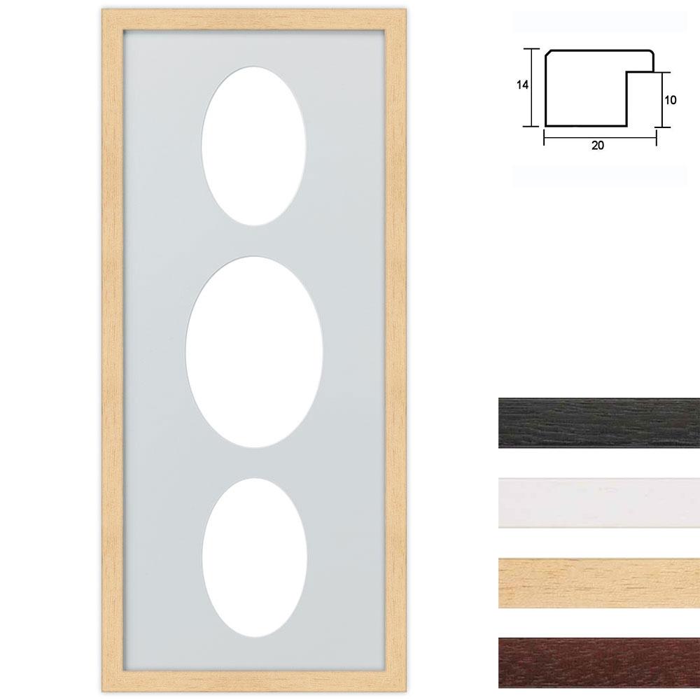 Cornice multipla in legno 25x60 per 3 foto ritaglio ovale