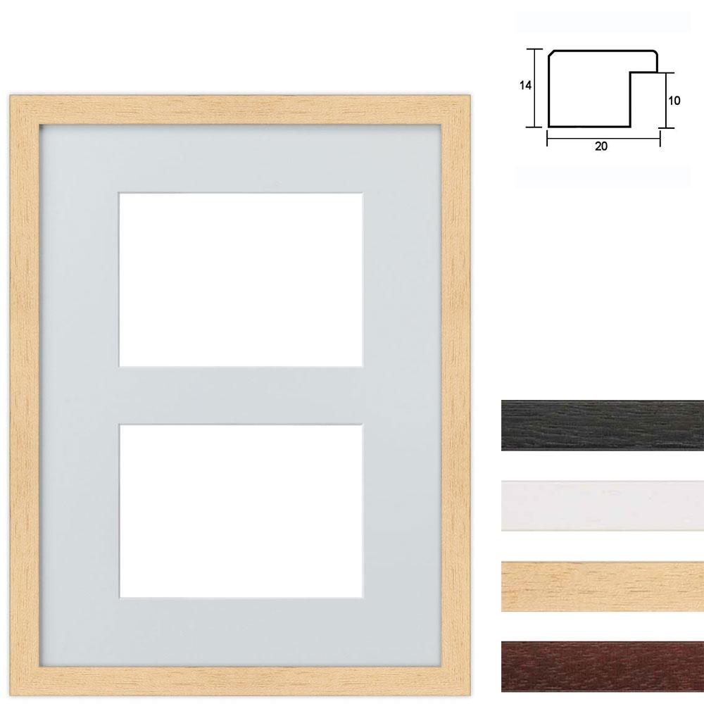 Cornice multipla in legno 30x40 cm per 2 foto