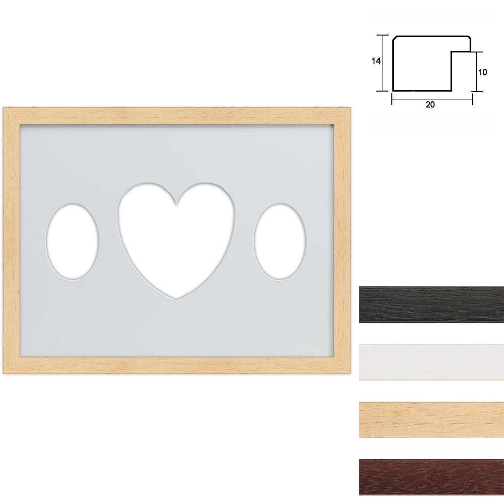 Cornice multipla in legno 30x40 per 3 foto ritaglio ovale con cuore