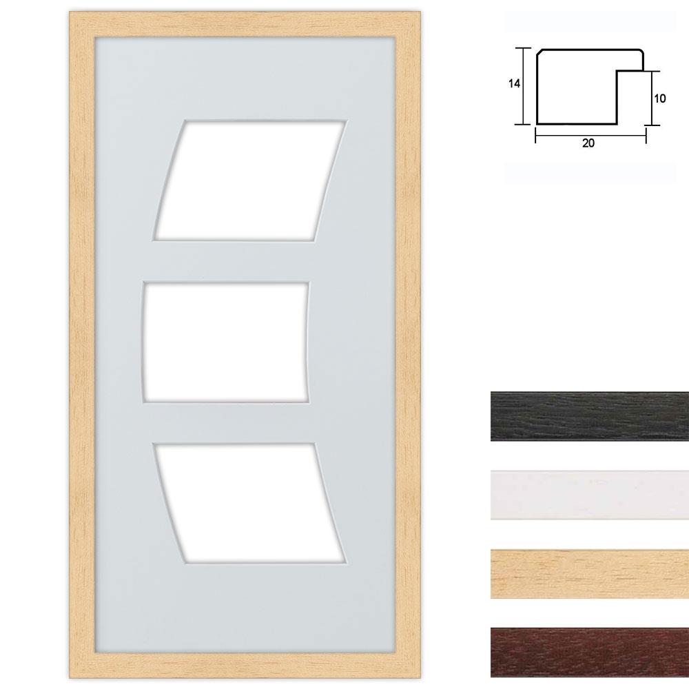 Cornice multipla in legno 25x50 per 3 foto ritaglio curvo
