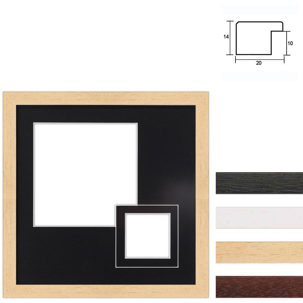 Cornice multipla in legno 30x30 cm per 2 foto