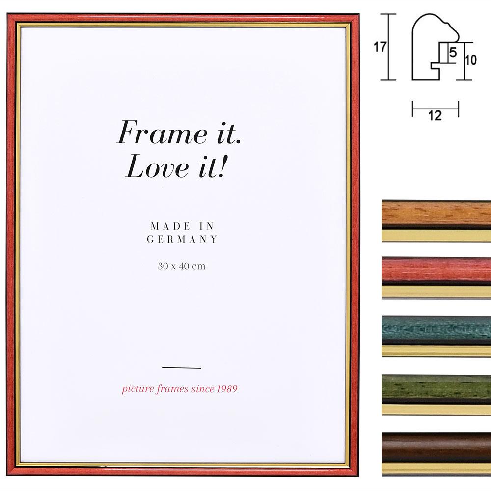 Cornice in legno Antony 25x70 cm | rosso-oro | vetro standarde