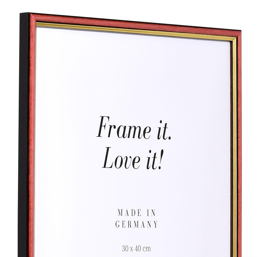 Cornice in legno Antony 25x35 cm | rosso-oro | vetro standarde