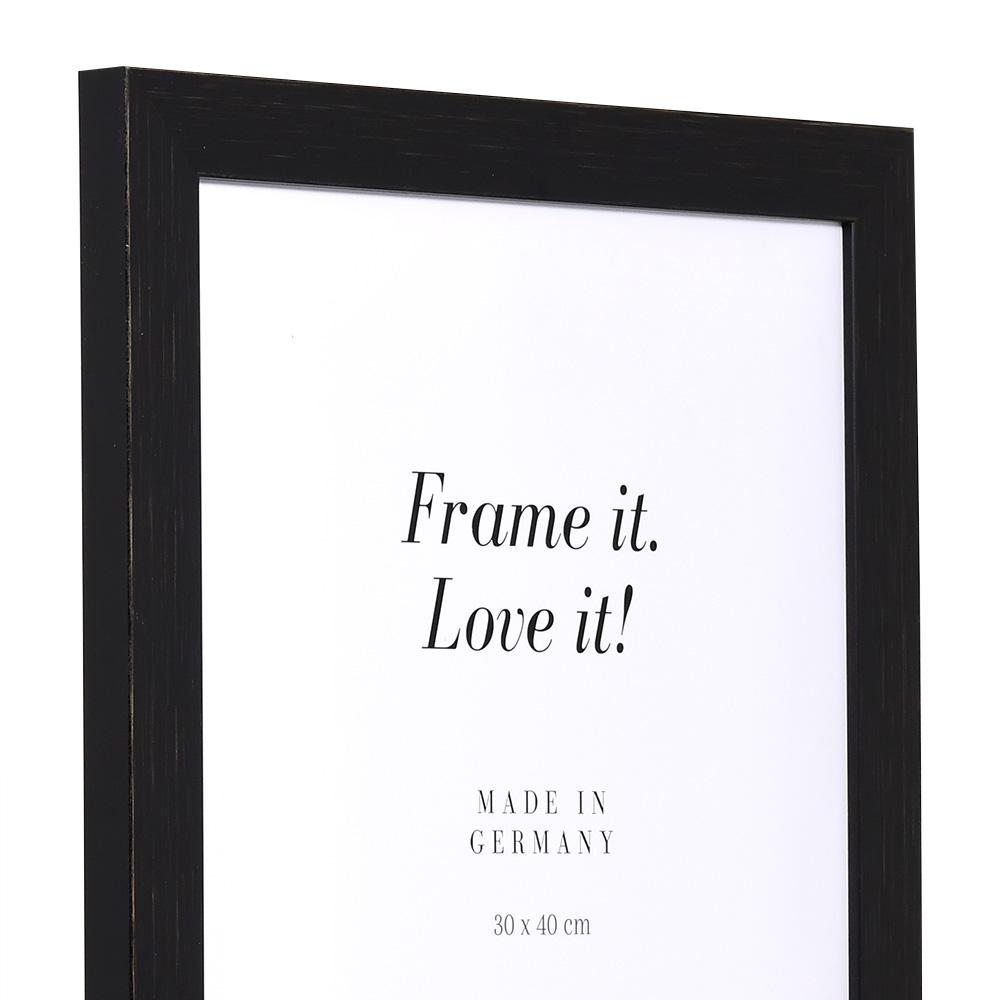 MDF-Cornice in legno Lille 60x90 cm   nero   vetro standarde