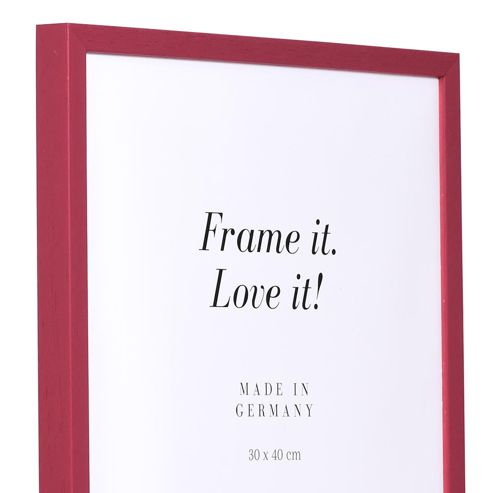 Cornice in legno Burgund su misura rosso | cornice senza vetro e supporto sul retro