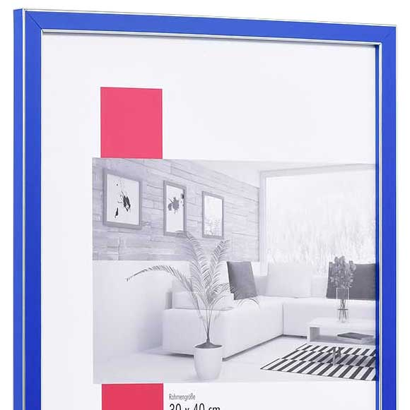 Cornice in legno Moulins 35x50 cm | blu | vetro standarde