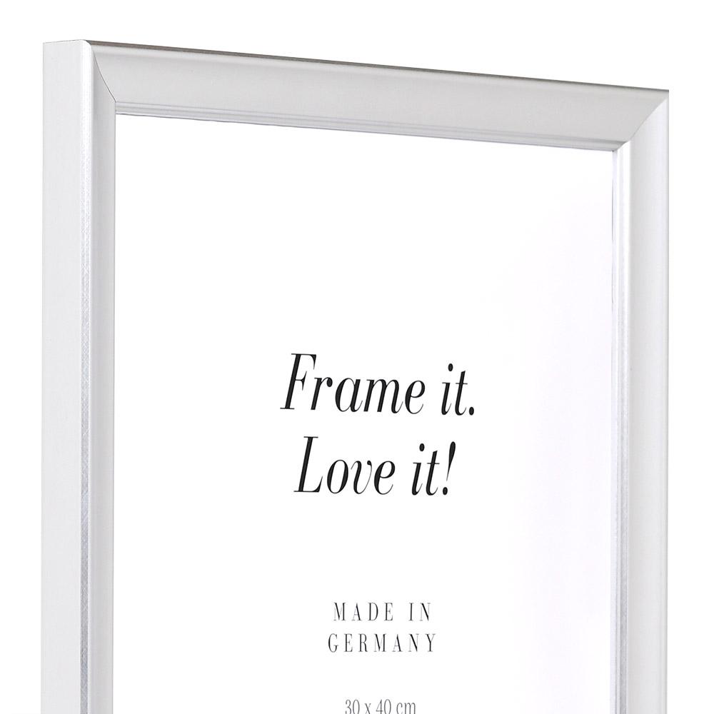 Cornice in legno Périgueux 63x112 cm | argento | vetro artificiale antiriflesso
