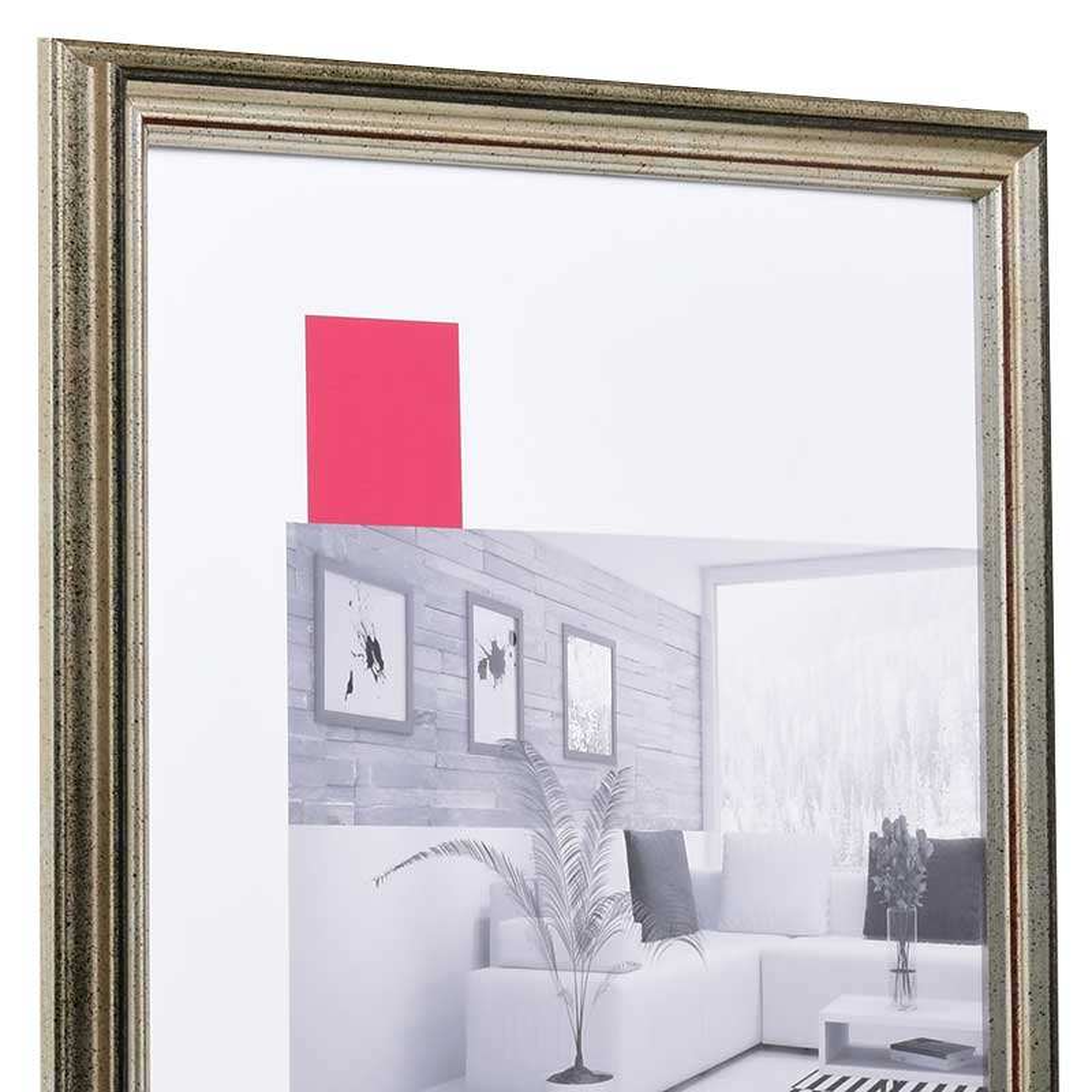 Cornice in legno Saint-Pierre 35x100 cm | argento | vetro standarde
