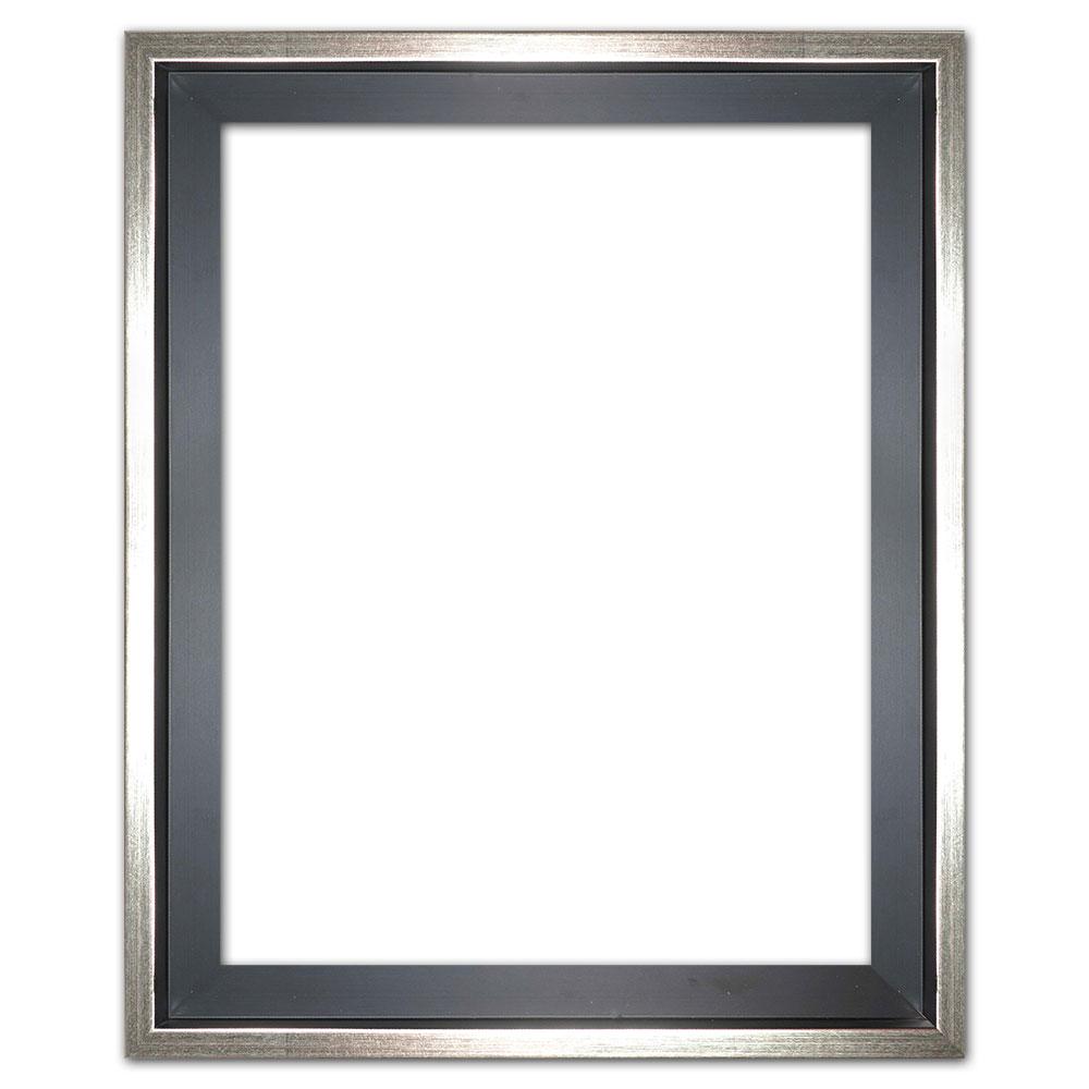 Cornice profilato di tenuta Eclipse, nero in su misura nero con bordo argento | cornice senza vetro e supporto sul retro