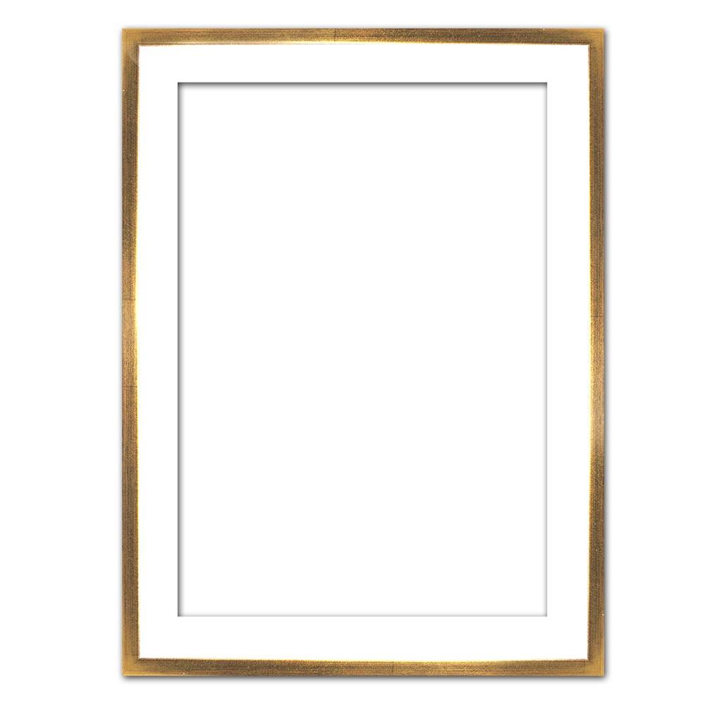 Cornice profilato di tenuta Eclipse, bianco in su misura bianco con bordo oro | cornice senza vetro e supporto sul retro