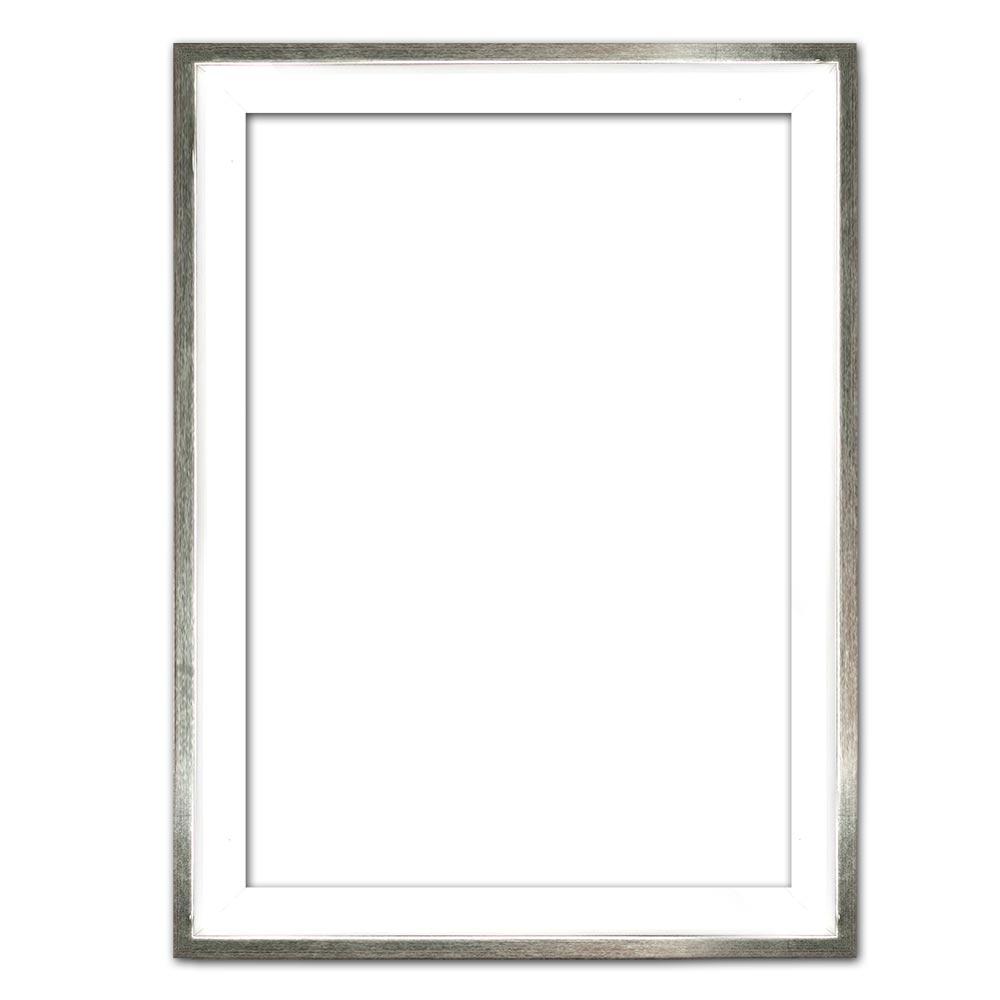 Cornice profilato di tenuta Eclipse, bianco in su misura bianco con bordo argento | cornice senza vetro e supporto sul retro