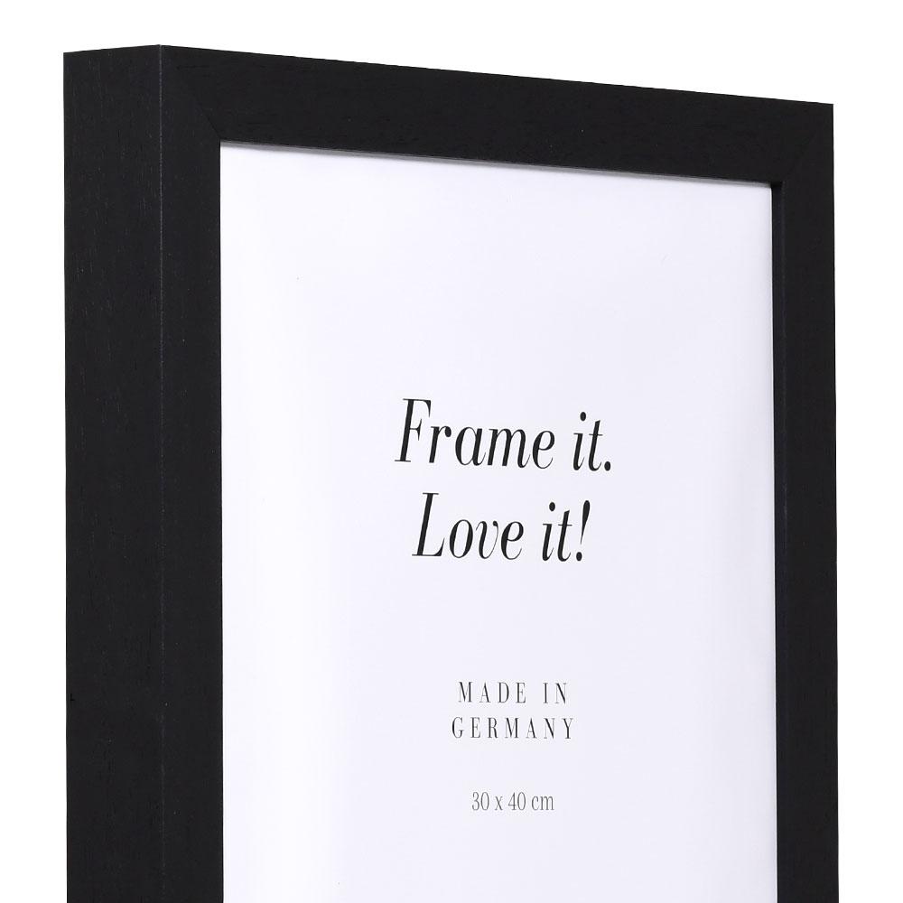 Cornice in legno Nouvelle 63x112 cm | nero | vetro artificiale antiriflesso