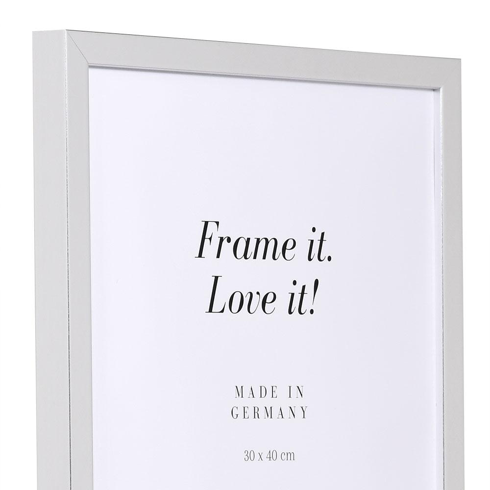 Cornice in legno Figari 70x105 cm | argento | vetro artificiale antiriflesso