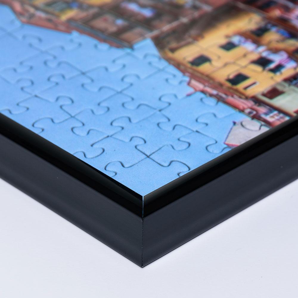 Cornice per puzzle su misura fino a 100x100 cm in materiale sintetico nero   vetro artificiale antiriflesso
