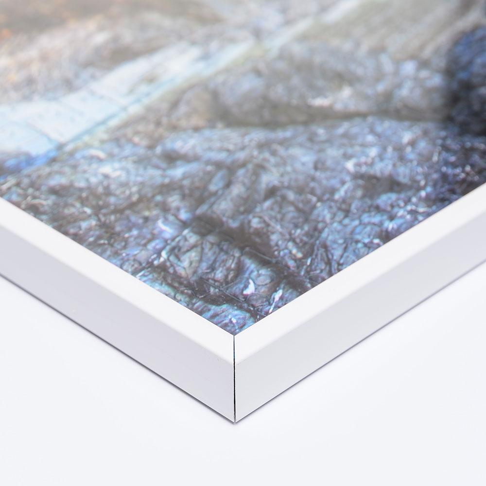 Cornice per puzzle su misura fino a 100x100 cm in materiale sintetico bianco   vetro artificiale antiriflesso