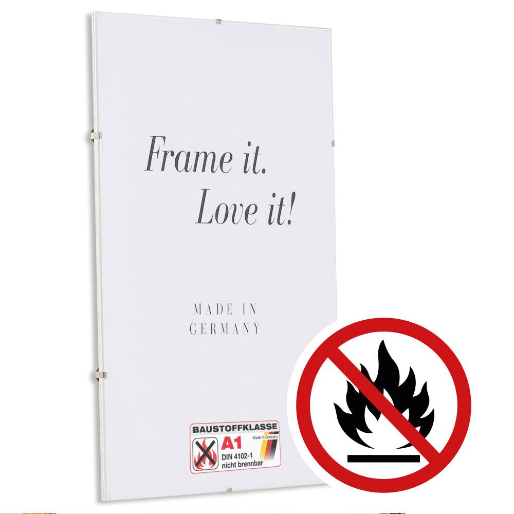 Cornice a giorno ignifuga, certificata resistenza al fuoco classe A1 13x13 cm | vetro standarde