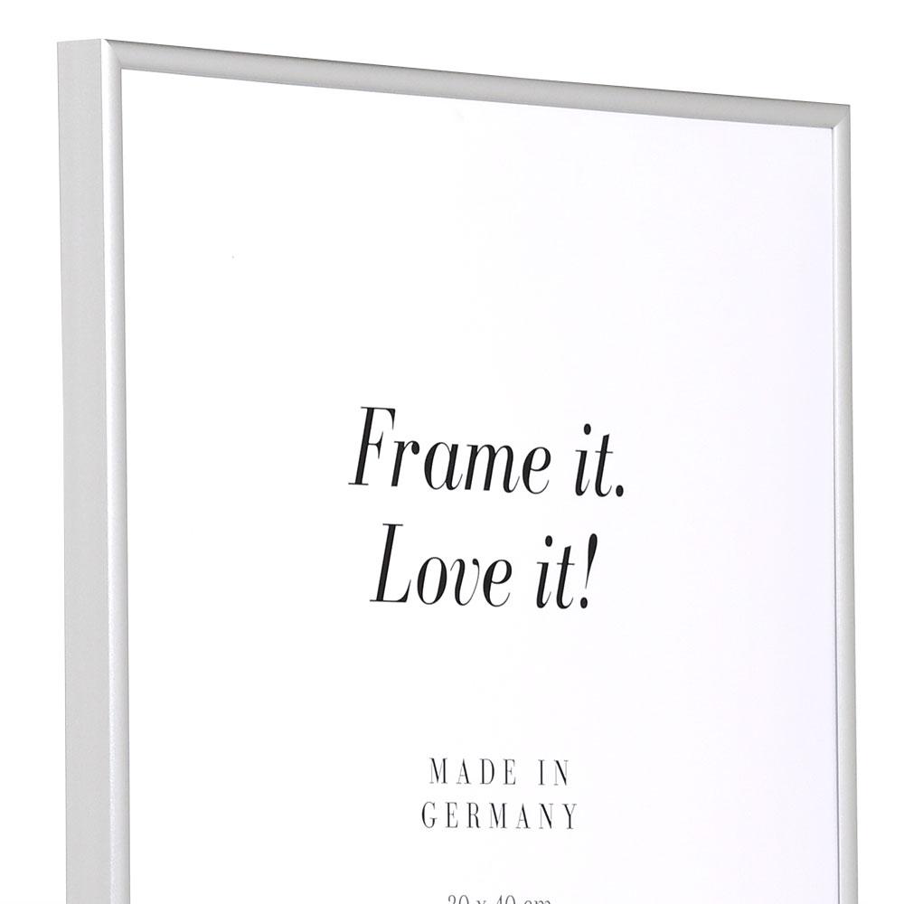 Cornice ART effetto alluminio 50x70 cm | argento opaco | vetro standarde