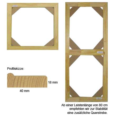 Listelli su misura legno naturale | cornice senza vetro e supporto sul retro