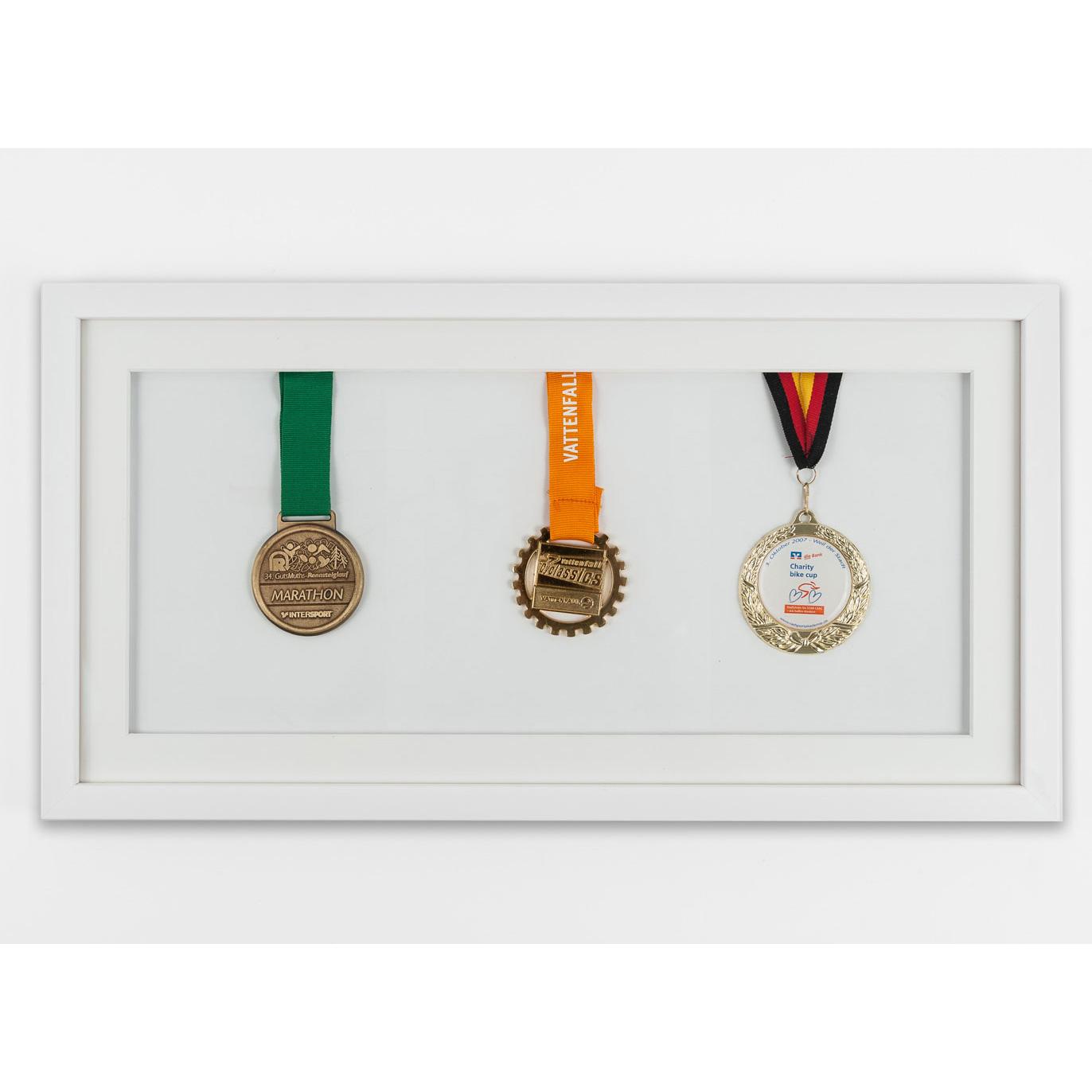 Cornice per medaglie 25x50 cm, bianco