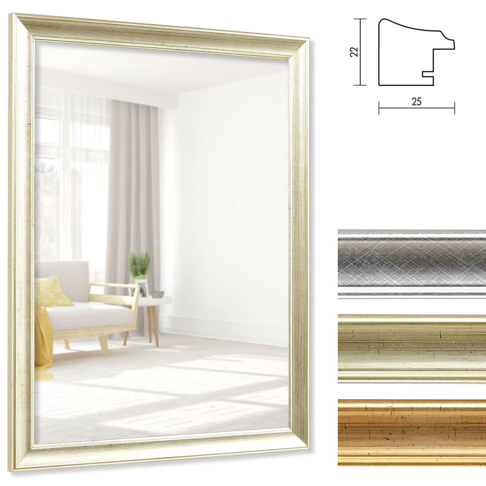 Mira cornice per specchi p rigueux su misura argento for Specchi su misura on line